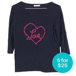 """5/$25 - Reitman's Navy """"Love"""" Sweater 3/4 Sleeve"""